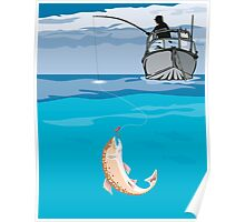 Fisherman Fishing Trout Fish Retro Poster