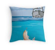 Fisherman Fishing Trout Fish Retro Throw Pillow