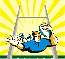 Rugby Player Scoring Try Retro by patrimonio
