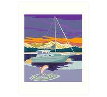 Sailboat Retro Art Print