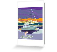 Sailboat Retro Greeting Card