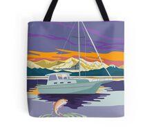 Sailboat Retro Tote Bag