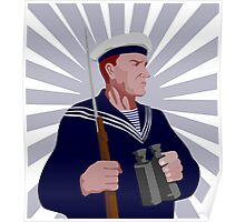 Navy Sailor Rifle Binoculars Retro Poster