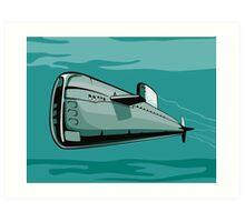 Submarine Boat Retro Art Print
