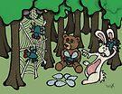Teddy Bear And Bunny - Having Fun by Brett Gilbert
