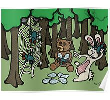 Teddy Bear And Bunny - Having Fun Poster