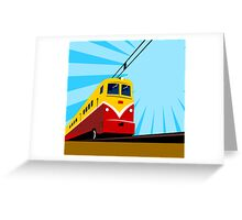 Electric Passenger Train Retro Greeting Card