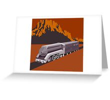 Steam Train Locomotive Retro Greeting Card