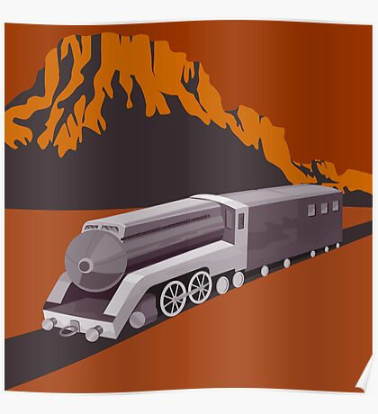 Steam Train Locomotive Retro Poster