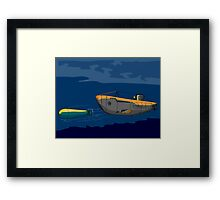 Submarine Boat Retro Framed Print