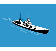 World War Two Battleship Warship Cruiser Retro Photographic Print