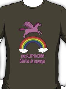 Pink Fluffy Unicorns Dancing On Rainbows T-Shirt