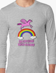 Pink Fluffy Unicorns Dancing On Rainbows Long Sleeve T-Shirt