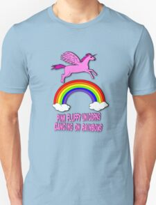 Pink Fluffy Unicorns Dancing On Rainbows T-Shirt