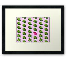 Pink Turtle Walking Against The Flow Framed Print