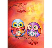 Thanksgiving Owls with Pumpkin Pie Photographic Print