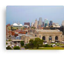 Union Station, Downtown Sky Scrapers, Kansas City Tilt Shift, Color Canvas Print
