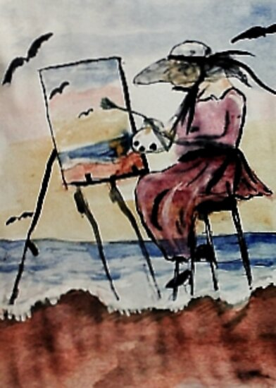 The plein air artist, watercolor by Anna  Lewis