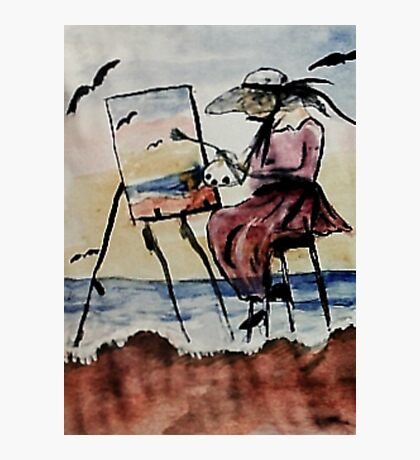 The plein air artist, watercolor Photographic Print