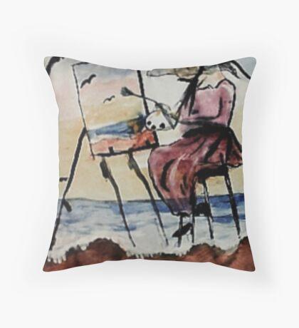 The plein air artist, watercolor Throw Pillow