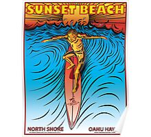 SUNSET BEACH OAHU HAWAII Poster
