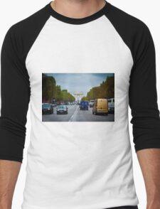 Traffic in Paris, France Men's Baseball ¾ T-Shirt
