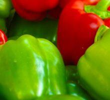 Green and Red Bell Peppers Tilt Shift Sticker