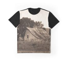 Rustic Barn and Old Tree, Sepia Graphic T-Shirt