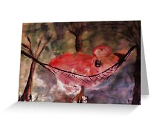 In her hammock reading, watercolor Greeting Card