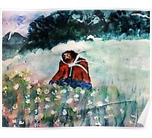 Stopping to smell the flowers while on walk, watercolor Poster