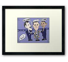 Caricature de ROMNEY GUMP et OBAMA Framed Print
