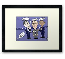 Editorial cartoon of Romney, Gump and Obama Framed Print