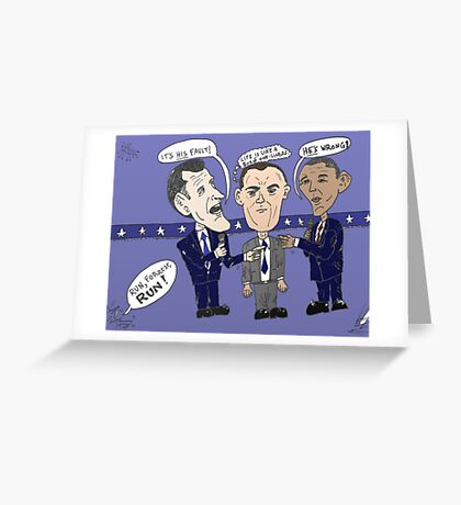 Editorial cartoon of Romney, Gump and Obama Greeting Card