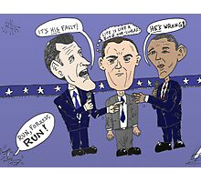 Editorial cartoon of Romney, Gump and Obama Photographic Print