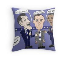 Editorial cartoon of Romney, Gump and Obama Throw Pillow
