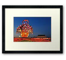 Tiananmen Flowers Framed Print