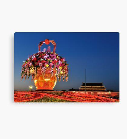 Tiananmen Flowers Canvas Print