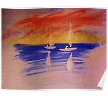 Romantic seascape, watercolor Poster
