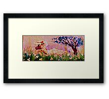 Girl amonst flowers panel, watercolor Framed Print