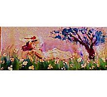 Girl amonst flowers panel, watercolor Photographic Print