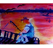 Catching dinner, fauvish, watercolor Photographic Print