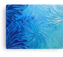WATER FLOWERS 2 - Stunning Ocean Beach BC Waves Floral Abstract Acrylic Painting Turquoise Blue Metal Print