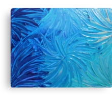 WATER FLOWERS 2 - Stunning Ocean Beach BC Waves Floral Abstract Acrylic Painting Turquoise Blue Canvas Print