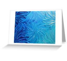 WATER FLOWERS 2 - Stunning Ocean Beach BC Waves Floral Abstract Acrylic Painting Turquoise Blue Greeting Card