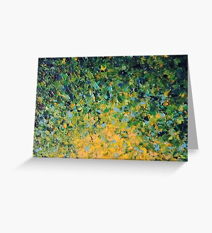 IRISH SUNRISE - Beautiful Vancouver Bold Lime Kelly Forest Green Sunrise Sunset Abstract Nature Painting Greeting Card