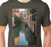 Venice Italy - Green Canal Reflections and a Gondola Unisex T-Shirt