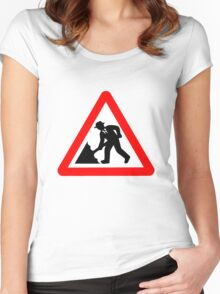 Caution! Men Singin' In The Rain!  Women's Fitted Scoop T-Shirt