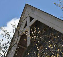 Wooden Cross on Stone Church  by faithphotoart