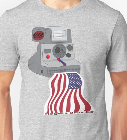 usa warriors flag camera by rogers bros Unisex T-Shirt