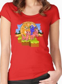 Mister Stampy Cat and Ballistic Squid riding piggies Women's Fitted Scoop T-Shirt